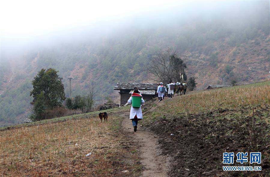 在云南怒江丙中洛镇,医疗队员在田间小道上行走(1月12日摄)。 2017年3月,作为珠海市金湾区首批援助怒江的医生,管延萍来到云南省怒江傈僳族自治州条件最艰苦的丙中洛镇工作,这里还有很多村落未通公路,出入全都依靠在悬崖峭壁上凿出来的羊肠小道。管延萍和同事们只能用背篓将心电图机、B超机等医疗器械背进大山,为村民们提供医疗服务。 近两年来,管延萍背着背篓,跋山涉水,爬冰卧雪,送医进山达300多次,散落在丙中洛高山峡谷间的46个村组,她整整走了四轮。为了大峡谷群众,她主动将在怒江扶贫支医的时间从半年延长至三年。 新华社记者张加扬摄