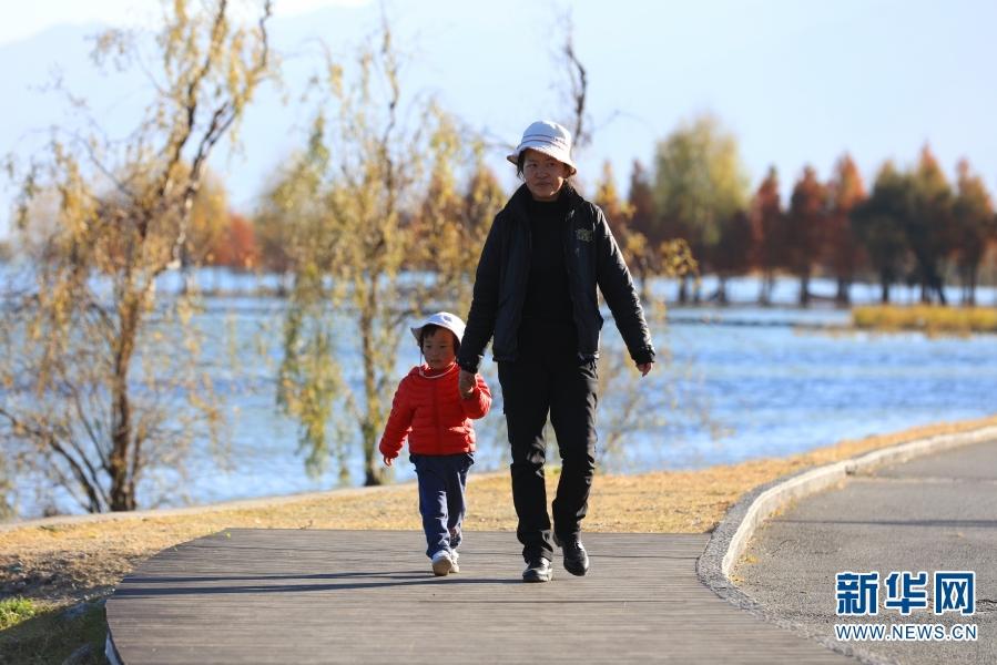 游客带着孩子在古生村散步(2020年12月11日摄)。(新华网 丁凝 摄)